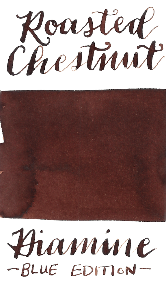 Diamine Blue Edition Roasted Chestnut is a warm red brown fountain pen ink.