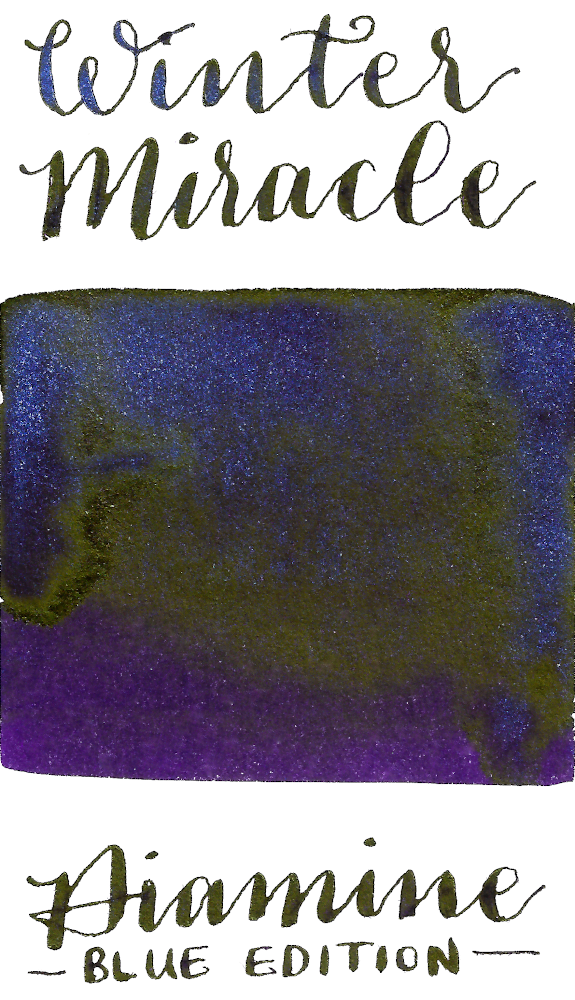 Diamine Blue Edition Winter Miracle is a royal purple fountain pen ink that features rich gold sheen and blue shimmer.