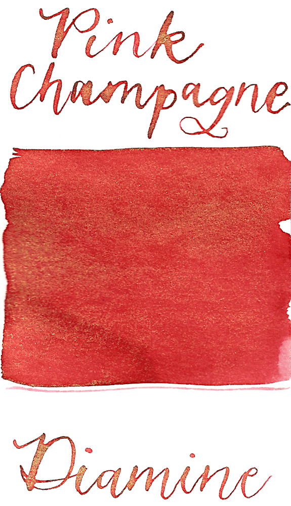 Diamine Pink Champagne from the 2019 Shimmertastic collection is a coral pink fountain pen ink with gold shimmer.