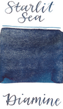 Diamine Starlit Sea from the 2019 Shimmertastic collection is a dark blue fountain pen ink with low shading  and silver shimmer.