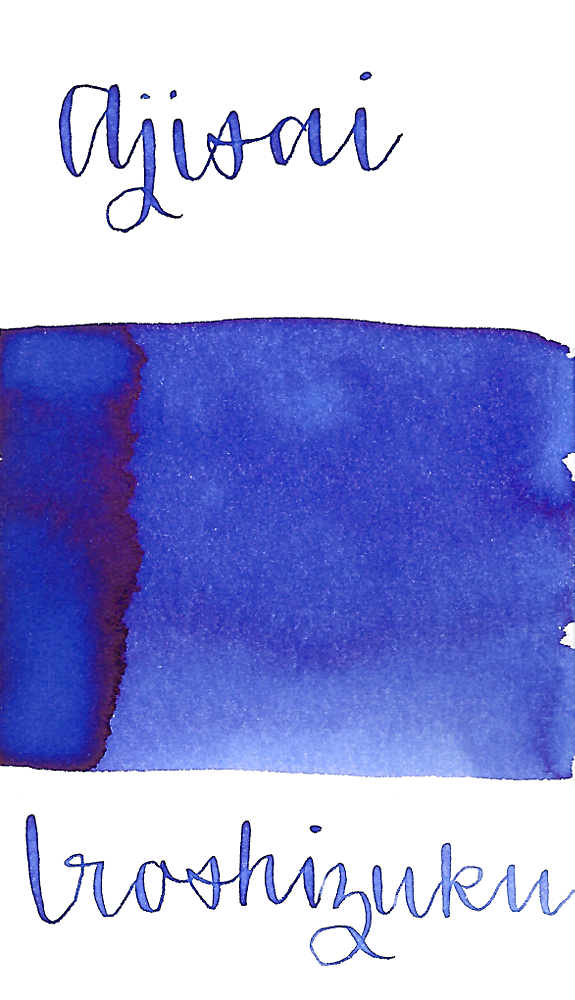 Pilot Iroshizuku Ajisai, aka Hydrangea, is a violet-blue color fountain pen ink with some medium shading.
