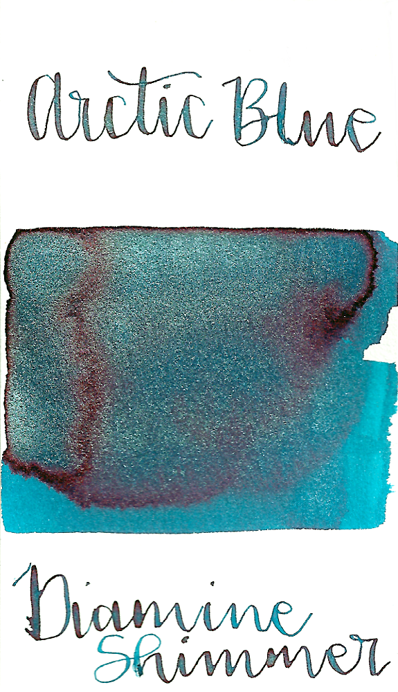 Diamine Arctic Blue from the 2017 Shimmertastic collection is a medium turquoise blue fountain pen ink with medium shading, high pink sheen, and silver shimmer.