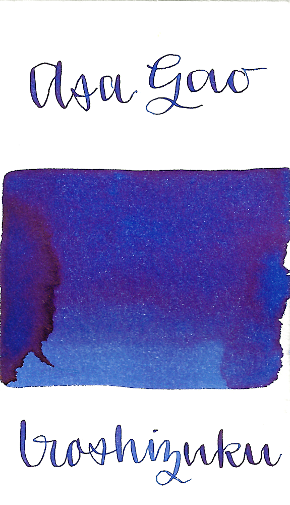 Pilot Iroshizuku Asa-Gao, aka Morning Glory, is a dark blue fountain pen ink with some medium shading.