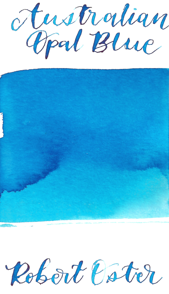 Robert Oster Australian Opal Blue is a pale, spring blue fountain pen ink with low shading.