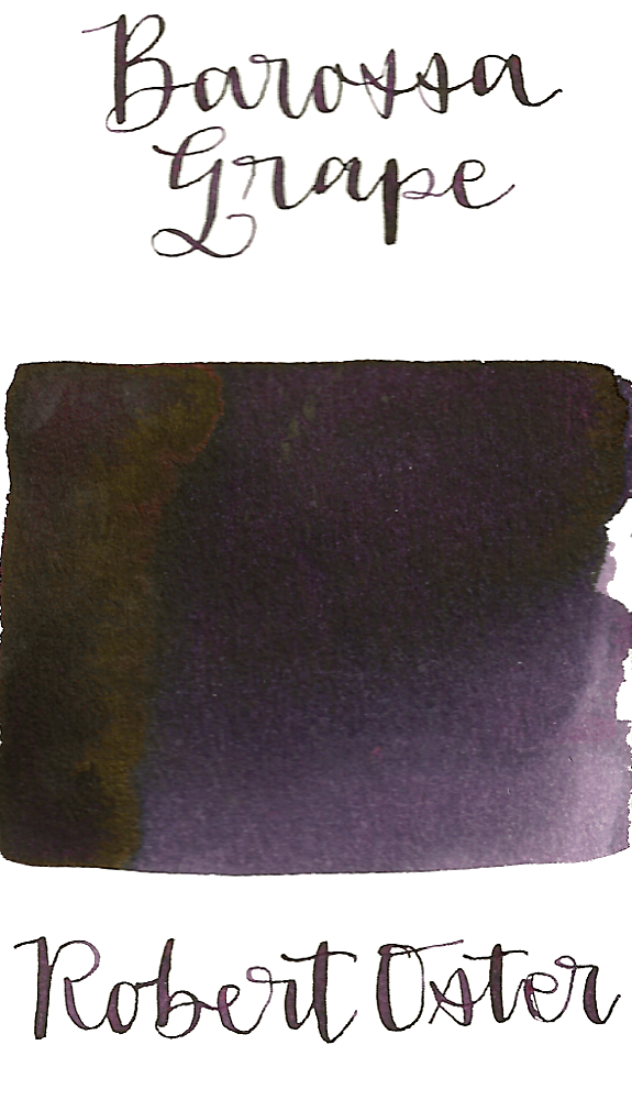 Robert Oster Barossa Grape is a dark purple fountain pen ink with a strong blue undertone and medium shading.