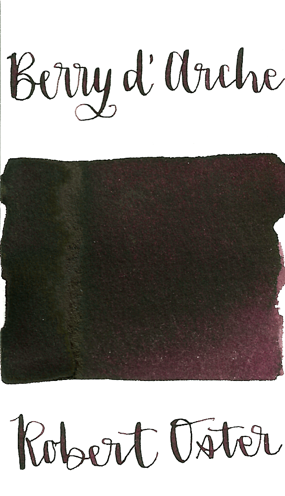 Robert Oster Berry d'Arche is a pretty, warm dark purple fountain pen ink with medium shading.