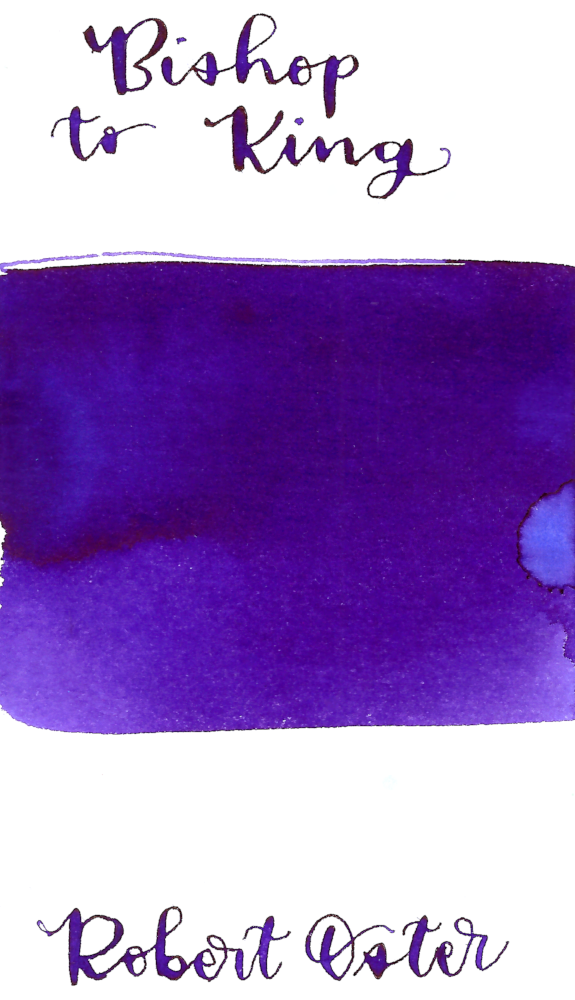 Robert Oster Bishop to King is a vibrant, blue-purple fountain pen ink with medium shading.