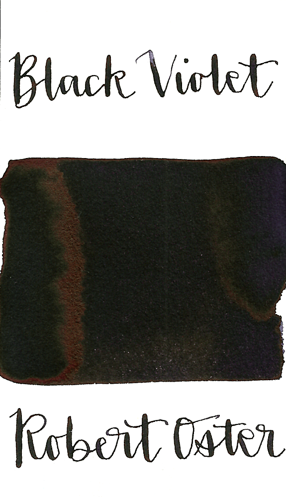 Robert Oster Black Violet is a dark purple-black fountain pen ink with low shading.