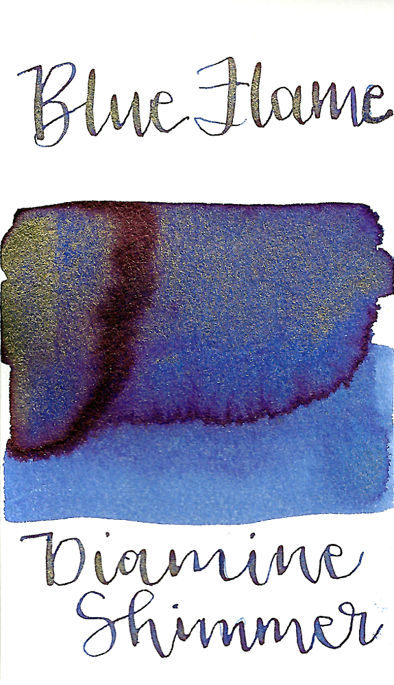 Diamine Blue Flame from the 2016 Shimmertastic collection is a cool-tone blue fountain pen ink with low shading, medium pink sheen, and gold shimmer.