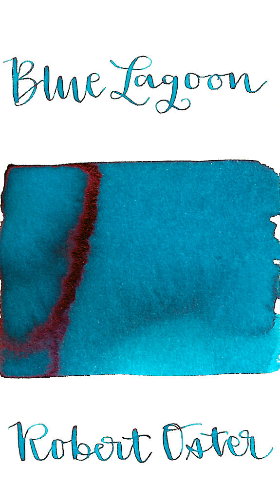 Robert Oster Blue Lagoon is a bright, turquoise blue fountain pen ink with medium shading and low pink sheen.