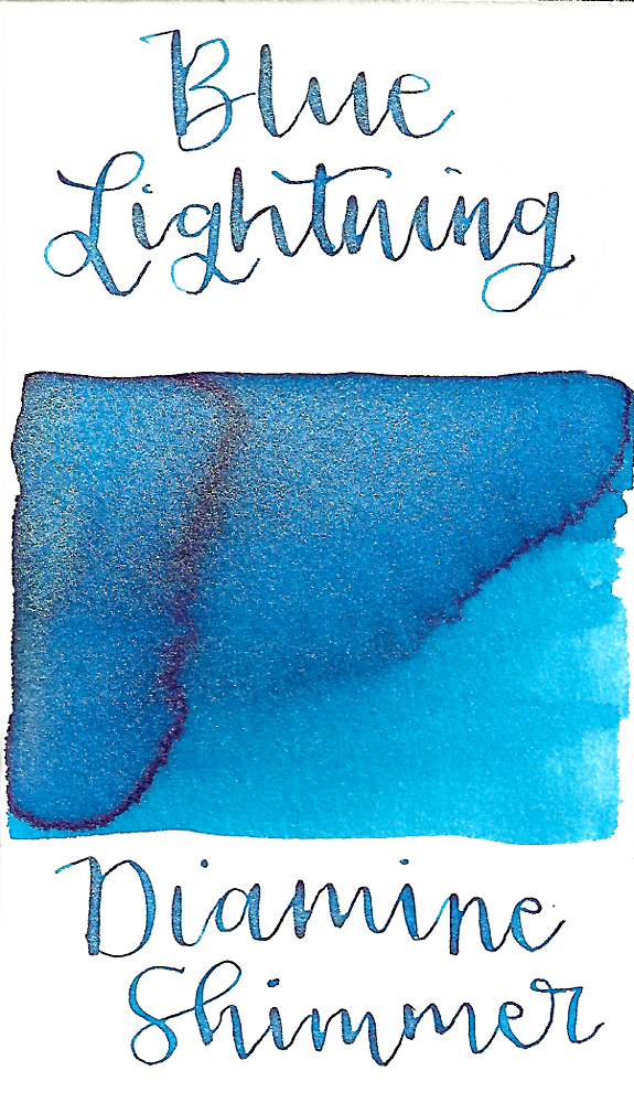 Diamine Blue Lightning from the 2015 Shimmertastic collection is a bright, sky blue fountain pen ink with low shading and silver shimmer.
