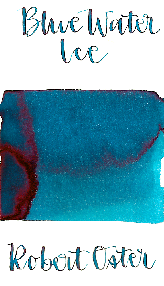 Robert Oster Blue Water Ice is a pretty medium turquoise blue fountain pen ink with medium shading and low pink sheen.