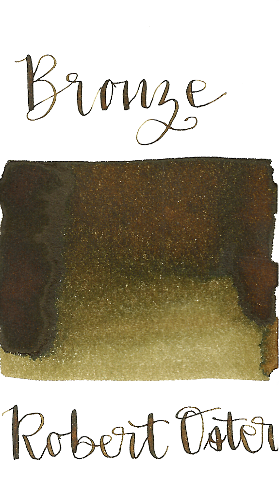 Robert Oster Bronze is a medium brown fountain pen ink with a green undertone and medium shading.