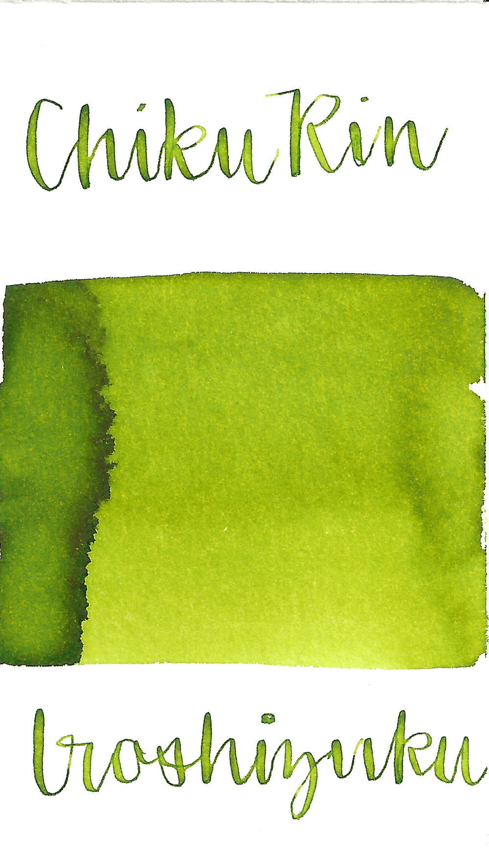Pilot Iroshizuku Chiku-Rin, aka Bamboo Forest, is a pale green fountain pen ink with some medium shading.