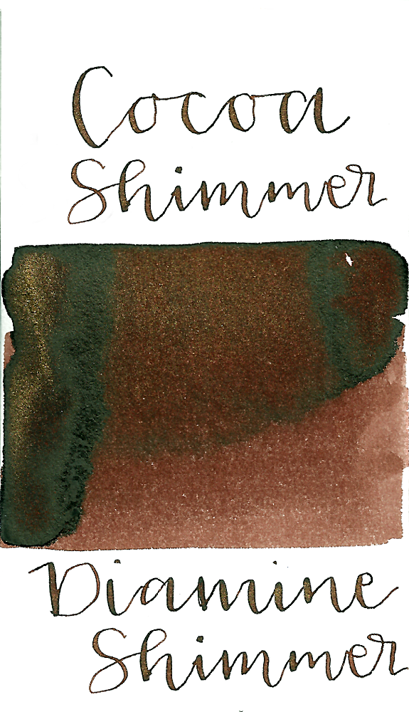 Diamine Cocoa Shimmer from the 2016 Shimmertastic collection is a warm brown fountain pen ink with low shading, low brown sheen, and gold shimmer.