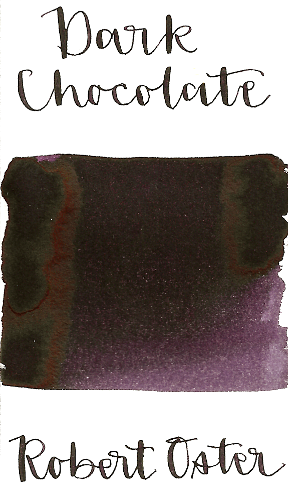 Robert Oster Dark Chocolate is a dark purple-brown fountain pen ink with medium shading and low copper sheen.