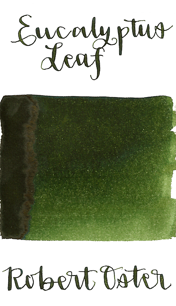 Robert Oster Eucalyptus Leaf is a medium olive green fountain pen ink with medium shading.