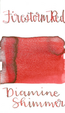 Diamine Firestorm Red from the 2015 Shimmertastic collection is a classic medium red fountain pen ink with silver shimmer.