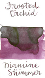 Diamine Frosted Orchid from the 2017 Shimmertastic collection is a dusky purple fountain pen ink with medium shading and silver shimmer.