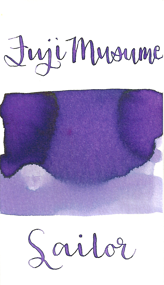 Sailor Jentle Fuji Musume, aka Fuji Daughter, from the 2016 Four Seasons collection is a medium lilac purple fountain pen ink with medium shading.