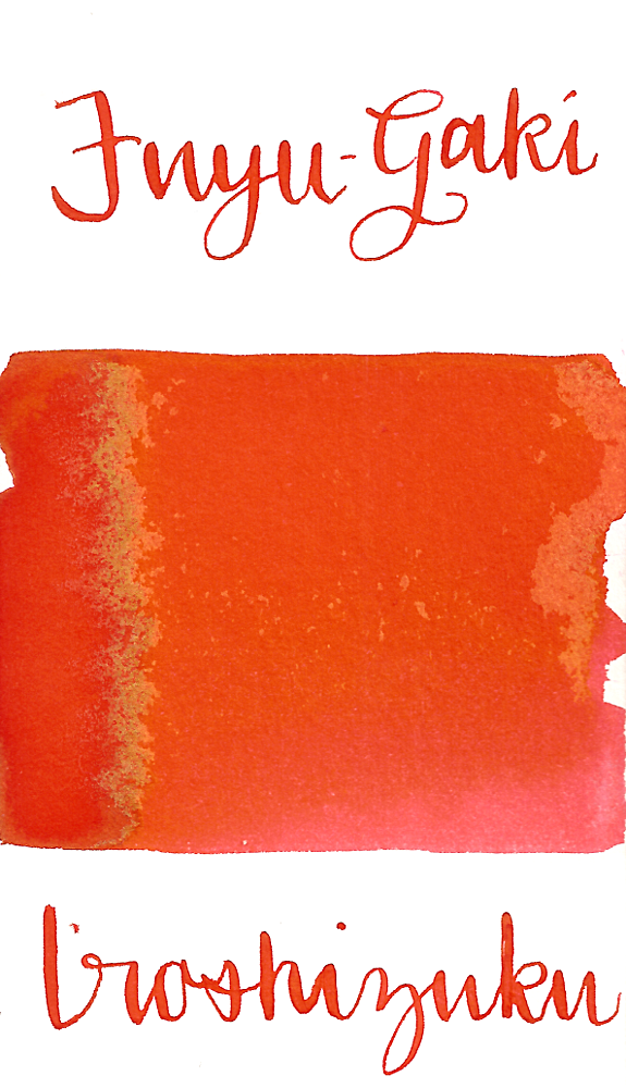 Pilot Iroshizuku Fuyu-Gaki, aka Winter Persimmon, is a vibrant orange fountain pen ink.