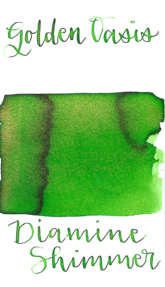 Diamine Golden Oasis from the 2016 Shimmertastic collection is a medium bright green fountain pen ink with low shading and gold shimmer.