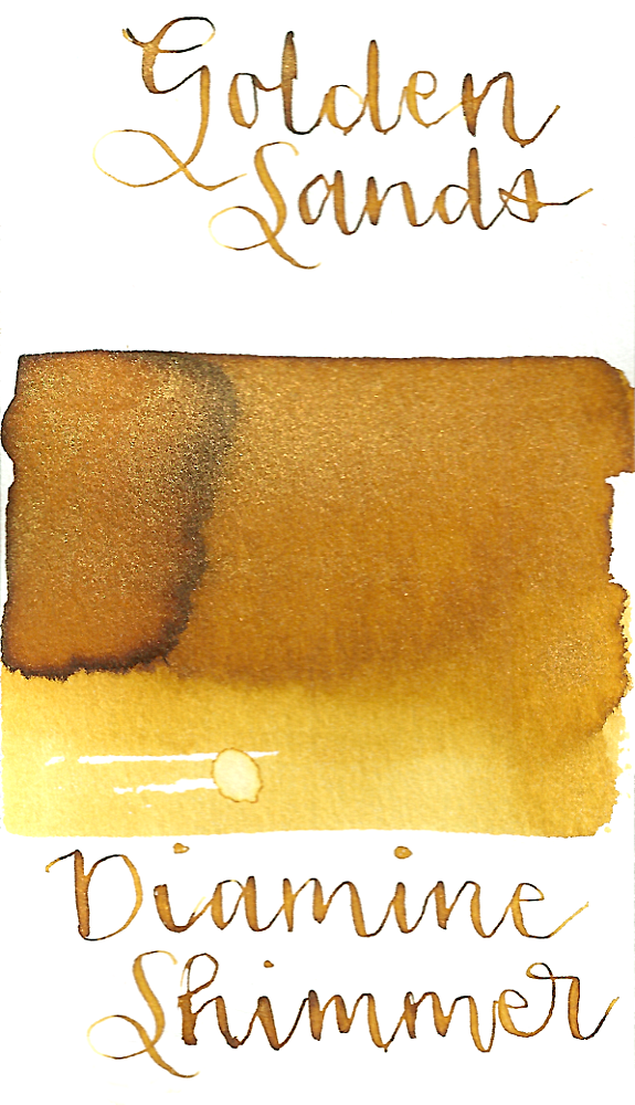 Diamine Golden Sands from the 2015 Shimmertastic collection is a golden yellow fountain pen ink with gold shimmer.