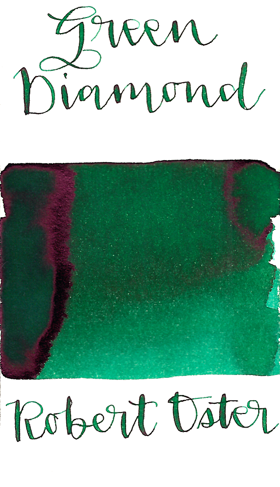 Robert Oster Green Diamond is a medium bright green fountain pen ink with medium shading and medium pink sheen.