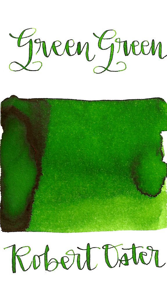 Robert Oster Green Green is a medium bright green fountain pen ink with medium shading.