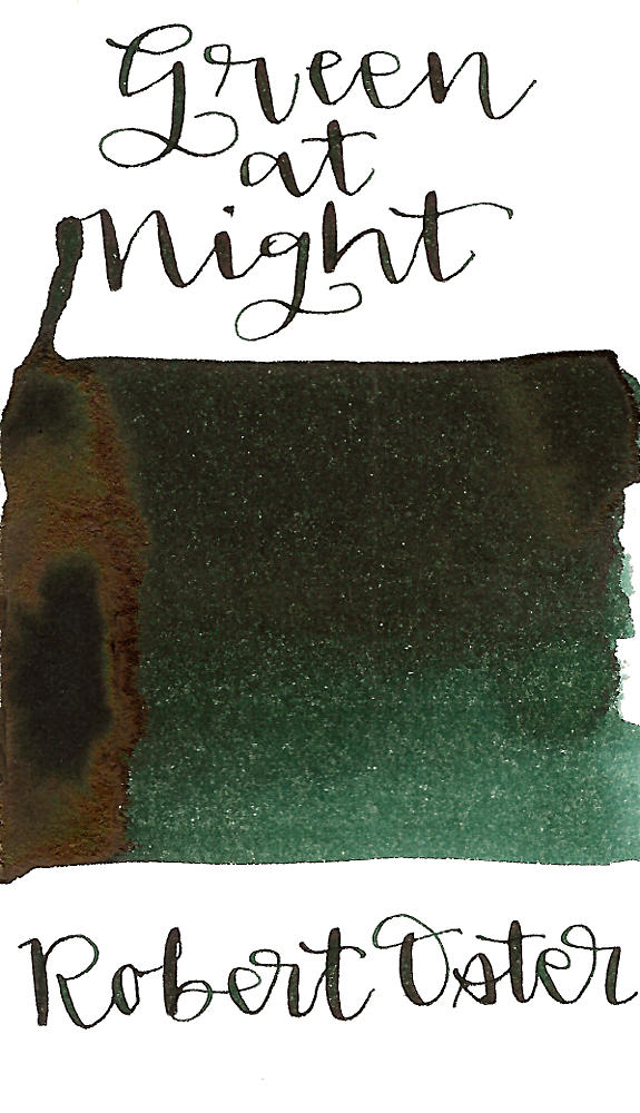 Robert Oster Green at Night is a great dark green fountain pen ink with medium shading and medium red sheen.