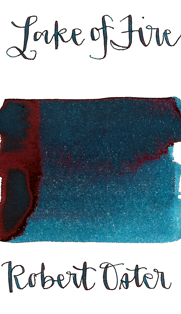 Robert Oster Lake of Fire is a deep blue fountain pen ink with a slight green undertone, medium shading, and medium pink sheen.