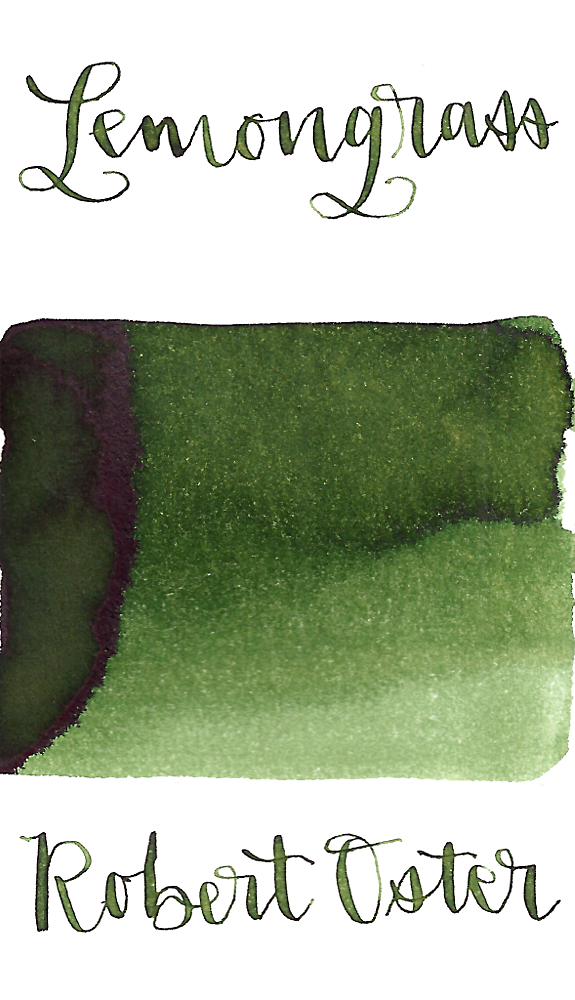 Robert Oster Lemongrass fountain pen ink ranges from medium to dark green with medium shading.