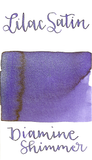 Diamine Lilac Satin from the 2016 Shimmertastic collection is a medium lilac purple fountain pen ink with low shading, a little gold sheen in large swabs, and gold shimmer.