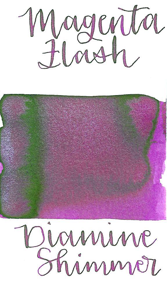 Diamine Magenta Flash from the 2016 Shimmertastic collection is a bright magenta pink fountain pen ink with low shading, low green sheen, and silver shimmer.
