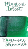 Diamine Magical Forest from the 2015 Shimmertastic collection is a medium green fountain pen ink with medium shading and silver shimmer.