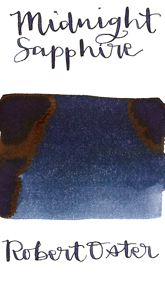 Robert Oster Midnight Sapphire is a dark blue, almost a blue-black fountain pen ink with medium shading