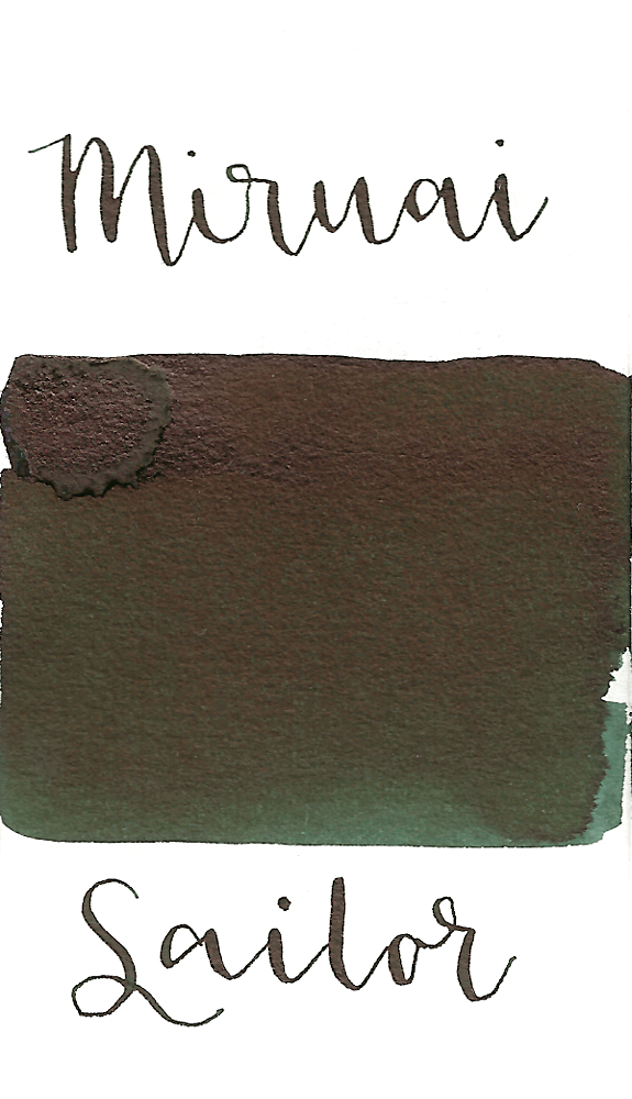 Sailor Jentle Murai, aka Seaweed Indigo, from the 2010 Four Seasons collection is a dark green black fountain pen ink with medium shading and high black sheen.