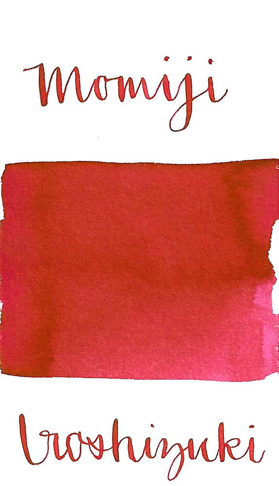 Pilot Iroshizuku Momiji, aka Autumn Leaves, is a vibrant red-pink fountain pen ink.