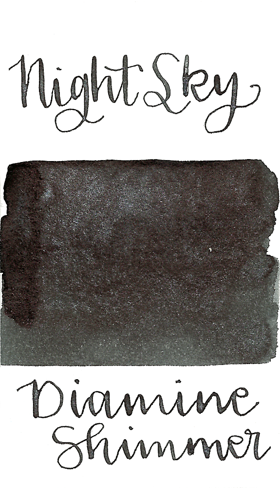 Diamine Night Sky from the 2015 Shimmertastic collection is a black fountain pen ink with silver shimmer.