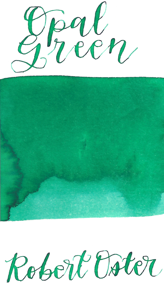 Robert Oster Opal Green from the 1980's collection is a dusky, pastel green fountain pen ink with medium shading