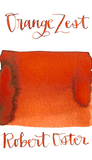 Robert Oster Orange Zest is a bright red-orange fountain pen ink with medium shading and low orange sheen.
