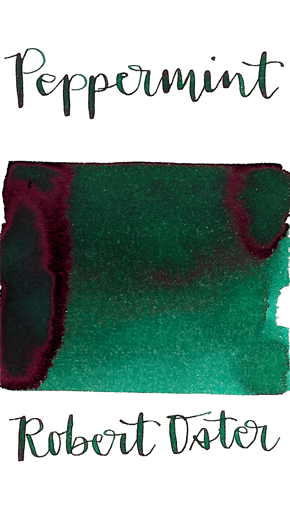 Robert Oster Peppermint is a pretty dark peppermint green fountain pen ink with medium shading and medium pink sheen.