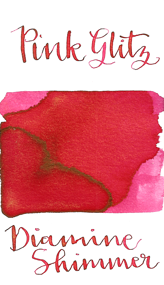 Diamine Pink Glitz from the 2016 Shimmertastic collection is a bright warm pink fountain pen ink with gold shimmer.