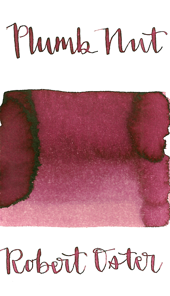 Robert Oster Plumb Nut is a dusky pink fountain pen ink with low shading.