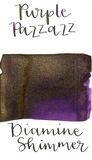 Diamine Purple Pazzazz from the 2019 Shimmertastic collection is a dark purple fountain pen ink with low shading, gold sheen in large swabs, and gold shimmer.