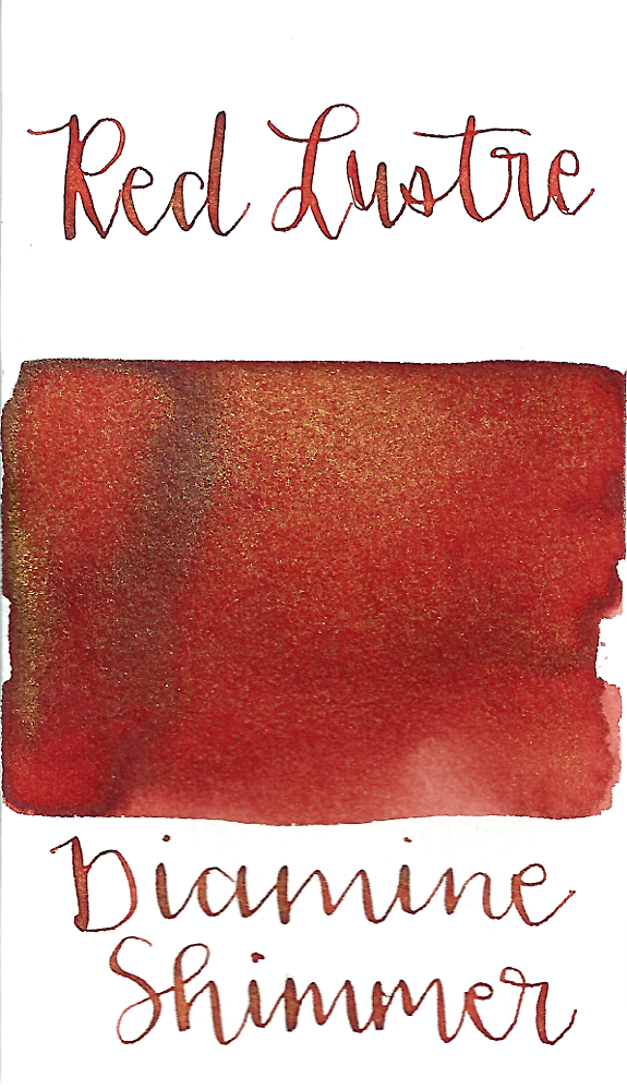 Diamine Red Lustre from the 2015 Shimmertastic collection is a dark red fountain pen ink with low shading and gold shimmer.