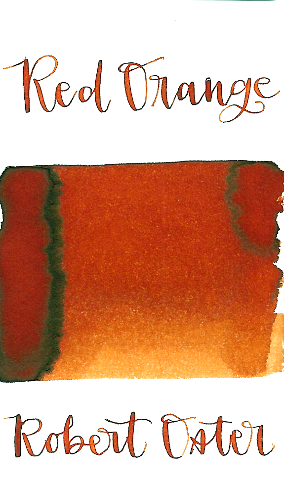 Robert Oster Red Orange is a warm, medium red-orange fountain pen ink with medium shading.