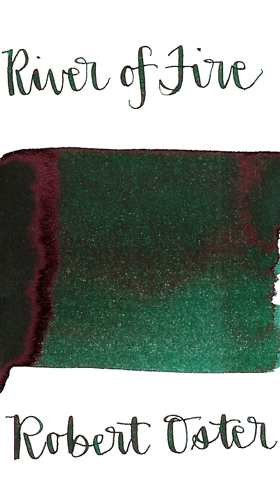 Robert Oster River of Fire is a dark green fountain pen ink with low shading and low red sheen.