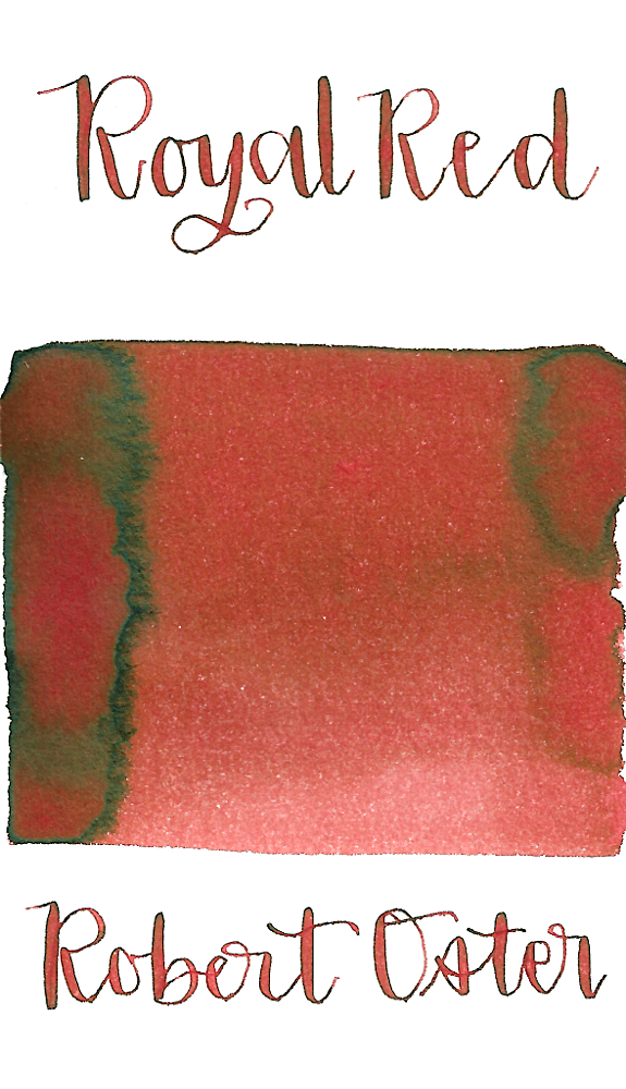 Robert Oster Royal Red is a light desaturated red fountain pen ink with medium shading.