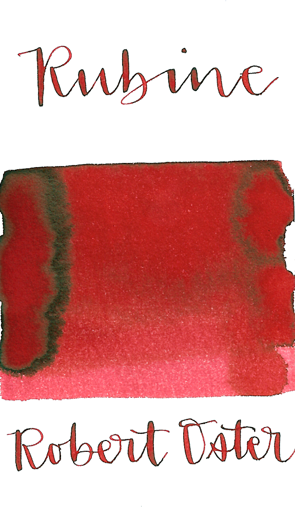 Robert Oster Rubine is a vibrant medium red fountain pen ink with medium shading and low brown sheen.